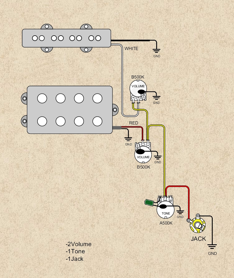 Schematy połączeń pickupów w gitarach basowych
