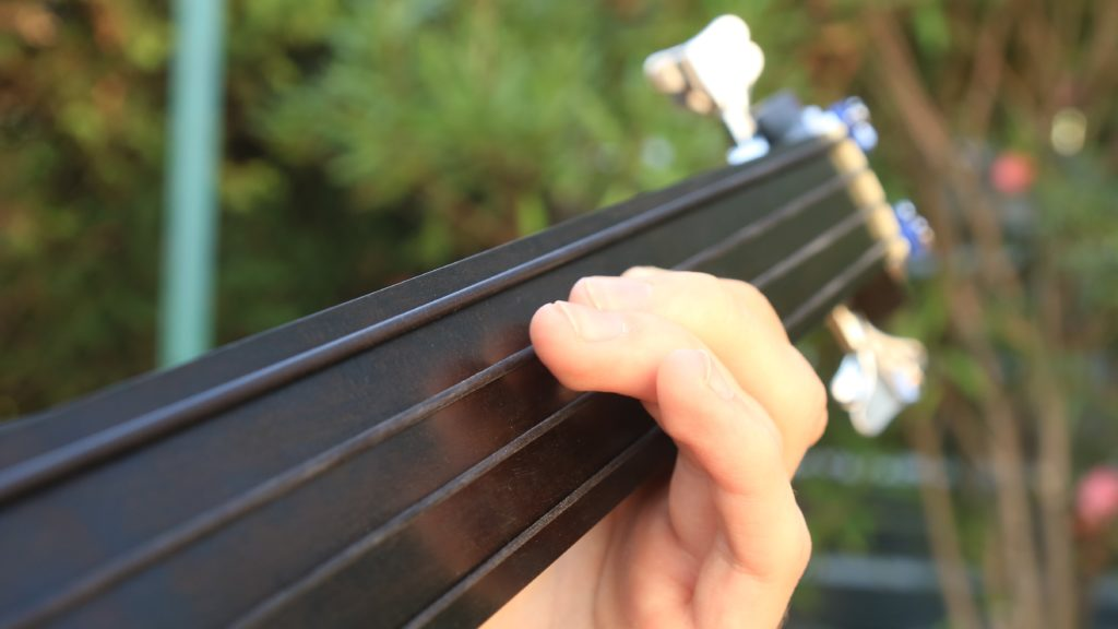 podstrunnica fretboard struny nylonowe blacknylon gitara basowa bezprogowa bas bezprogowy fretles bass acoustic akustyczny fretless