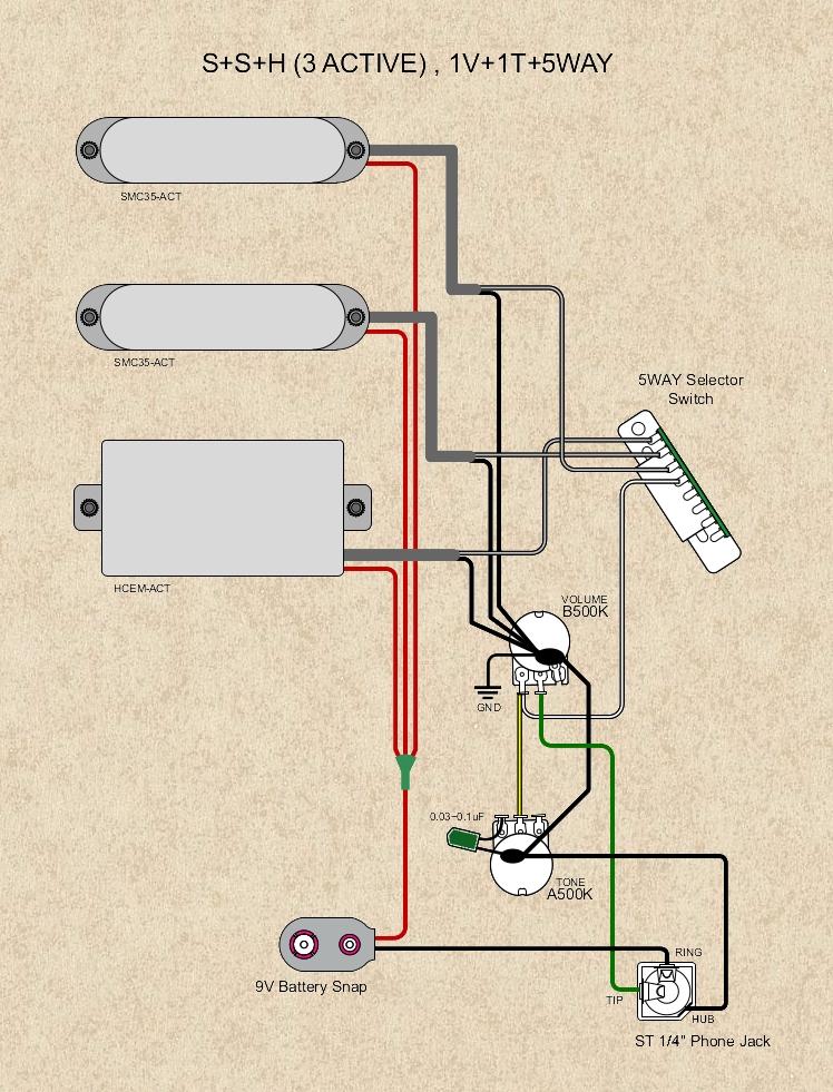 Schemat połączeń ukladu SSH z aktywnymi przetwornikami