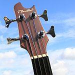 t burton minatura bas akustyczny acoustic bass headstock główka gitary bezprogowy fretless